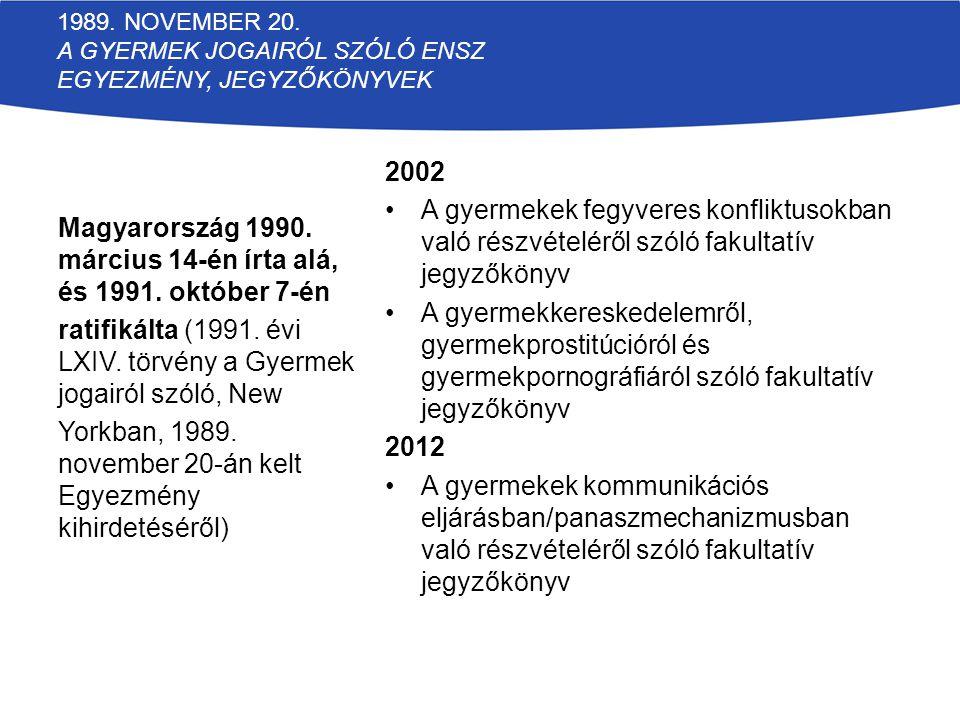 Magyarország 1990. március 14-én írta alá, és 1991. október 7-én
