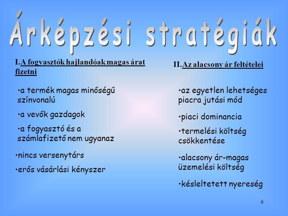 Árképzési stratégiák I.A fogyasztók hajlandóak magas árat fizetni
