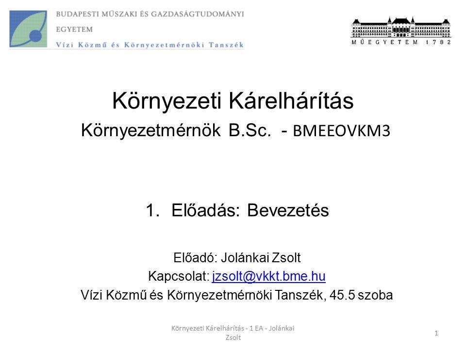 Környezeti Kárelhárítás Környezetmérnök B.Sc. - BMEEOVKM3
