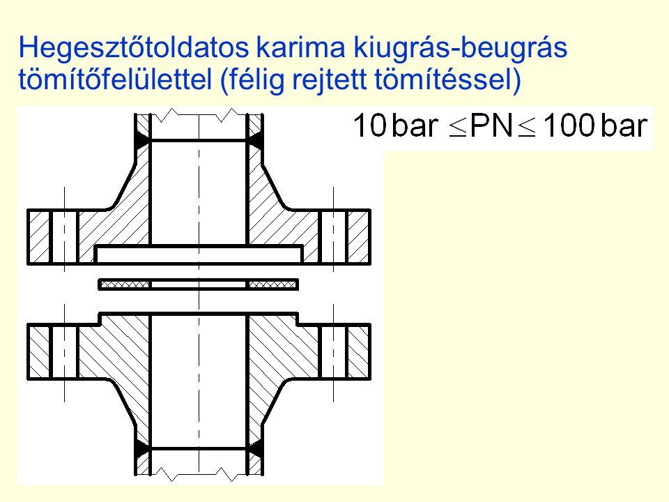 Hegesztőtoldatos karima kiugrás-beugrás tömítőfelülettel (félig rejtett tömítéssel)