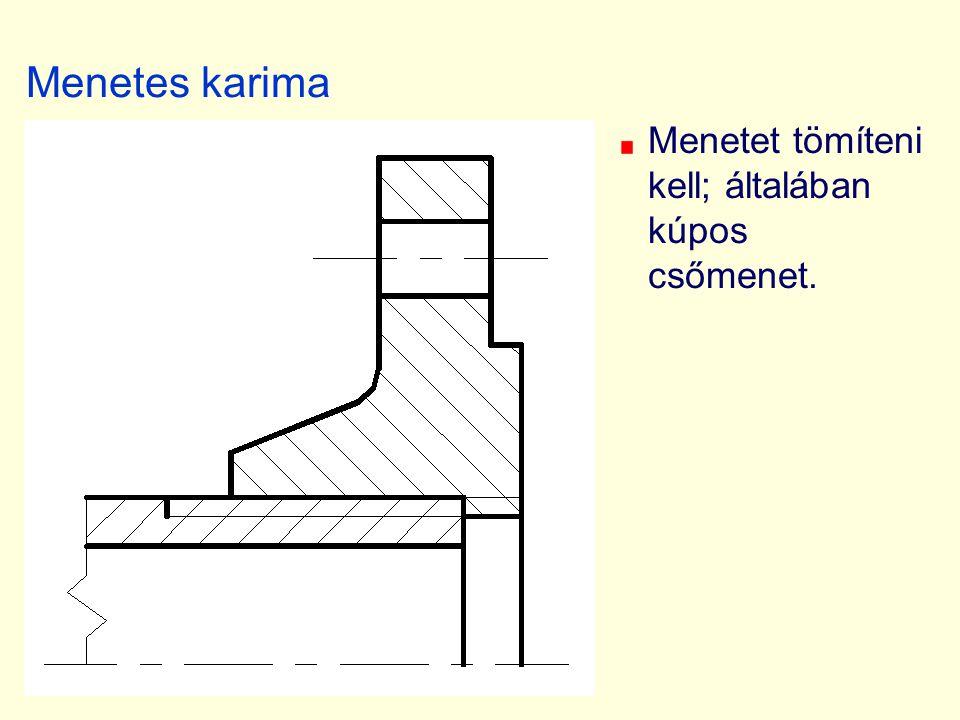 Menetes karima Menetet tömíteni kell; általában kúpos csőmenet.
