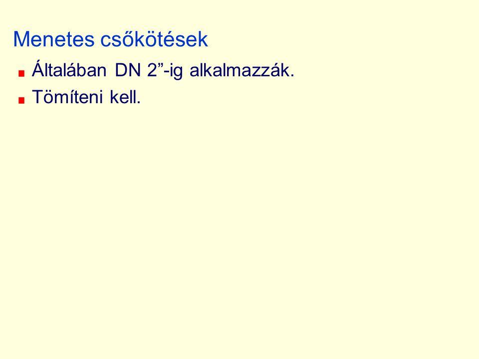 Menetes csőkötések Általában DN 2 -ig alkalmazzák. Tömíteni kell.