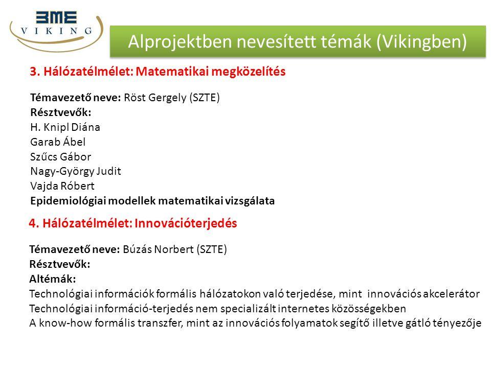 Alprojektben nevesített témák (Vikingben)
