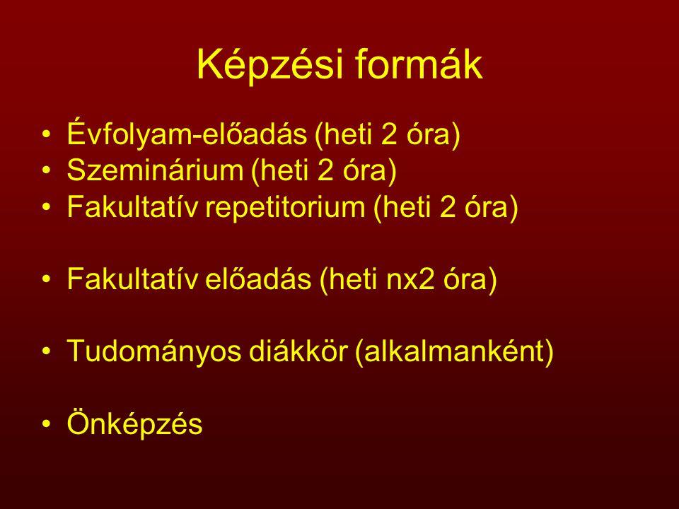 Képzési formák Évfolyam-előadás (heti 2 óra) Szeminárium (heti 2 óra)