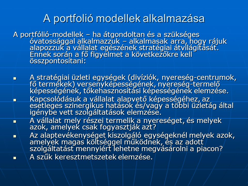 A portfolió modellek alkalmazása