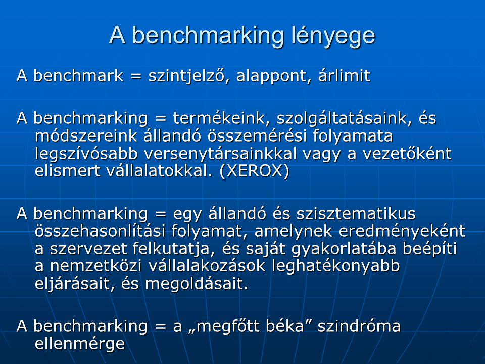 A benchmarking lényege