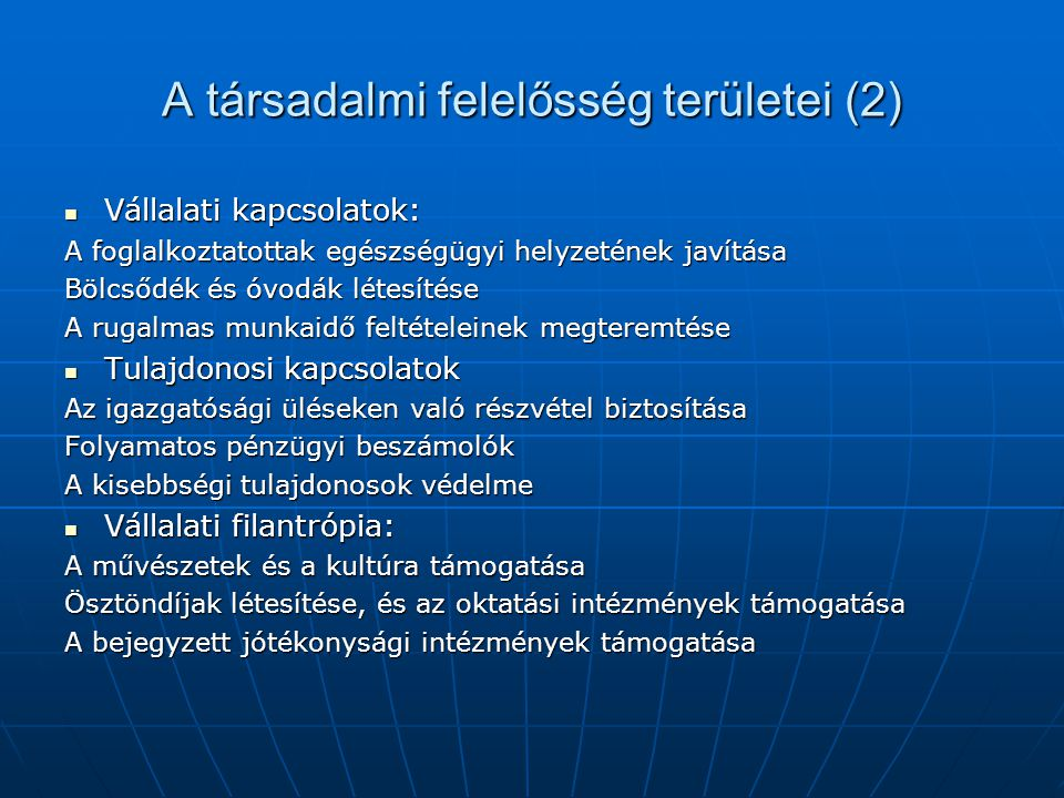 A társadalmi felelősség területei (2)