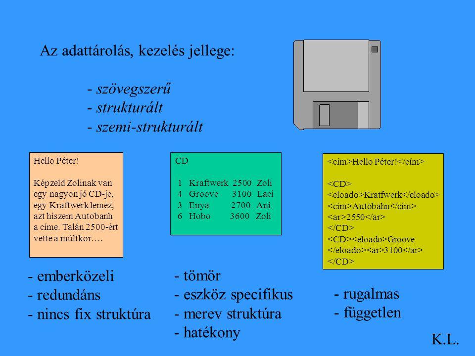Az adattárolás, kezelés jellege: - szövegszerű - strukturált