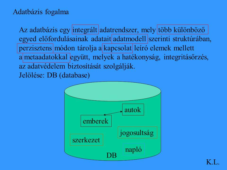 Adatbázis fogalma Az adatbázis egy integrált adatrendszer, mely több különböző. egyed előfordulásainak adatait adatmodell szerinti struktúrában,