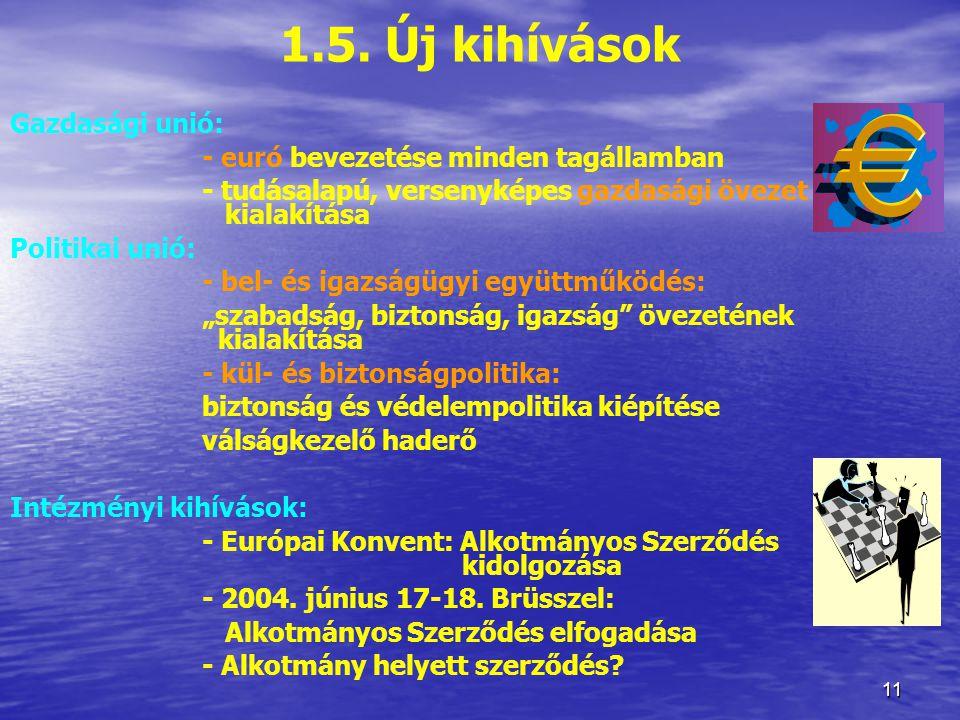 1.5. Új kihívások Gazdasági unió: - euró bevezetése minden tagállamban