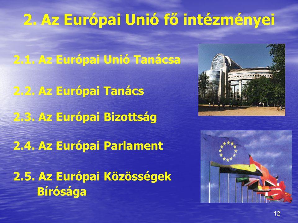 2. Az Európai Unió fő intézményei