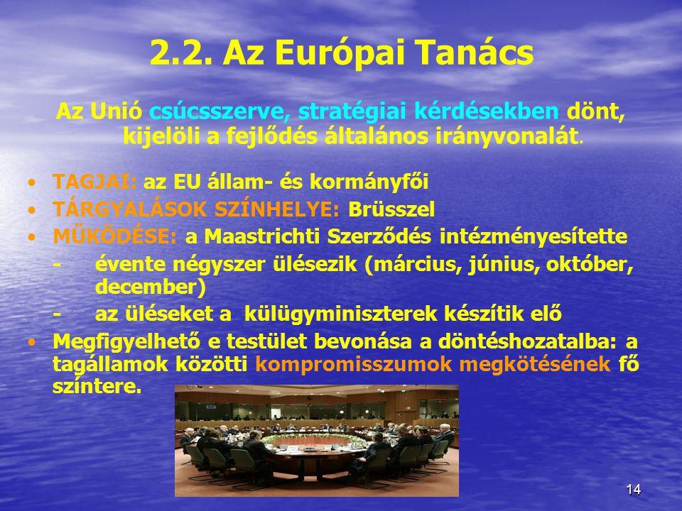2.2. Az Európai Tanács Az Unió csúcsszerve, stratégiai kérdésekben dönt, kijelöli a fejlődés általános irányvonalát.