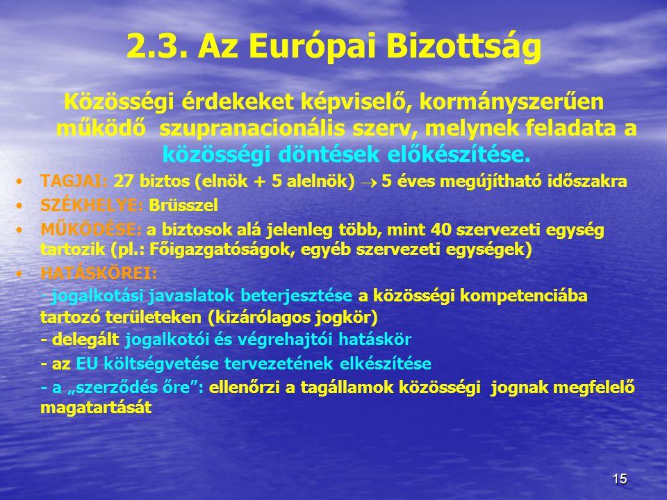 2.3. Az Európai Bizottság