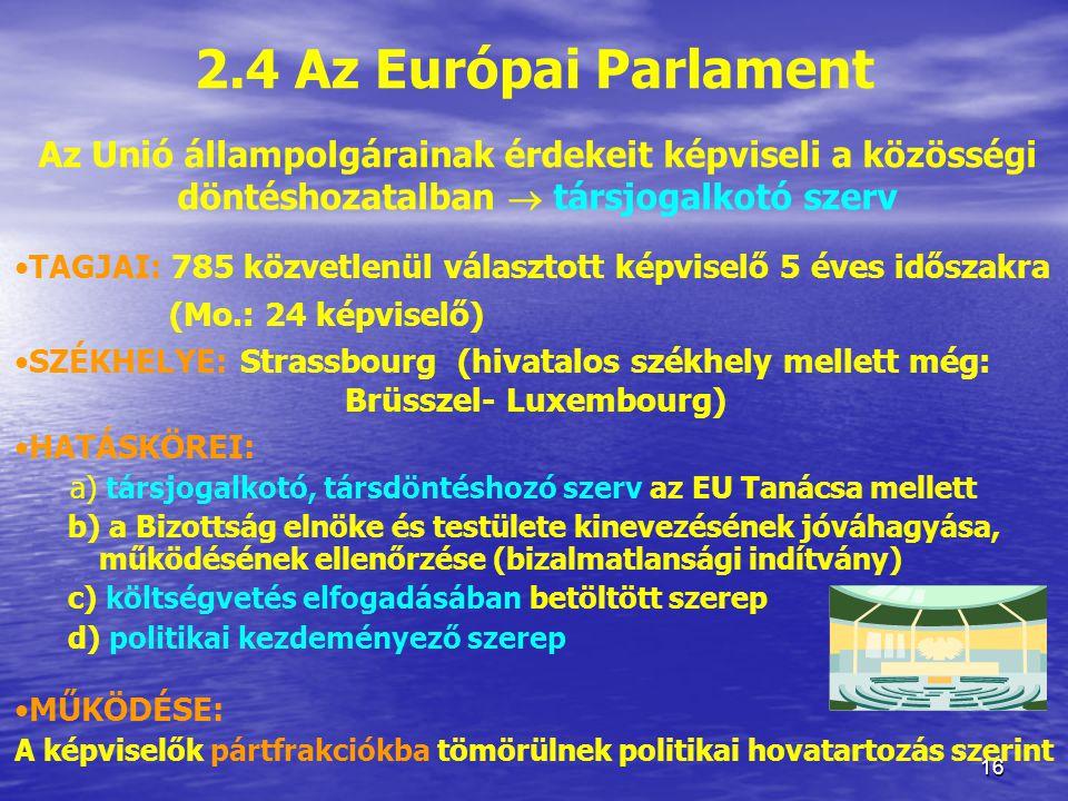 2.4 Az Európai Parlament Az Unió állampolgárainak érdekeit képviseli a közösségi döntéshozatalban  társjogalkotó szerv.
