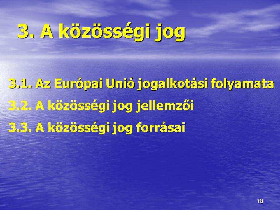3. A közösségi jog 3.1. Az Európai Unió jogalkotási folyamata