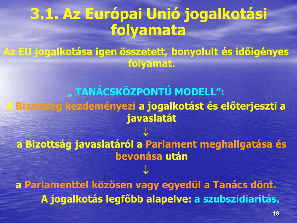 3.1. Az Európai Unió jogalkotási folyamata
