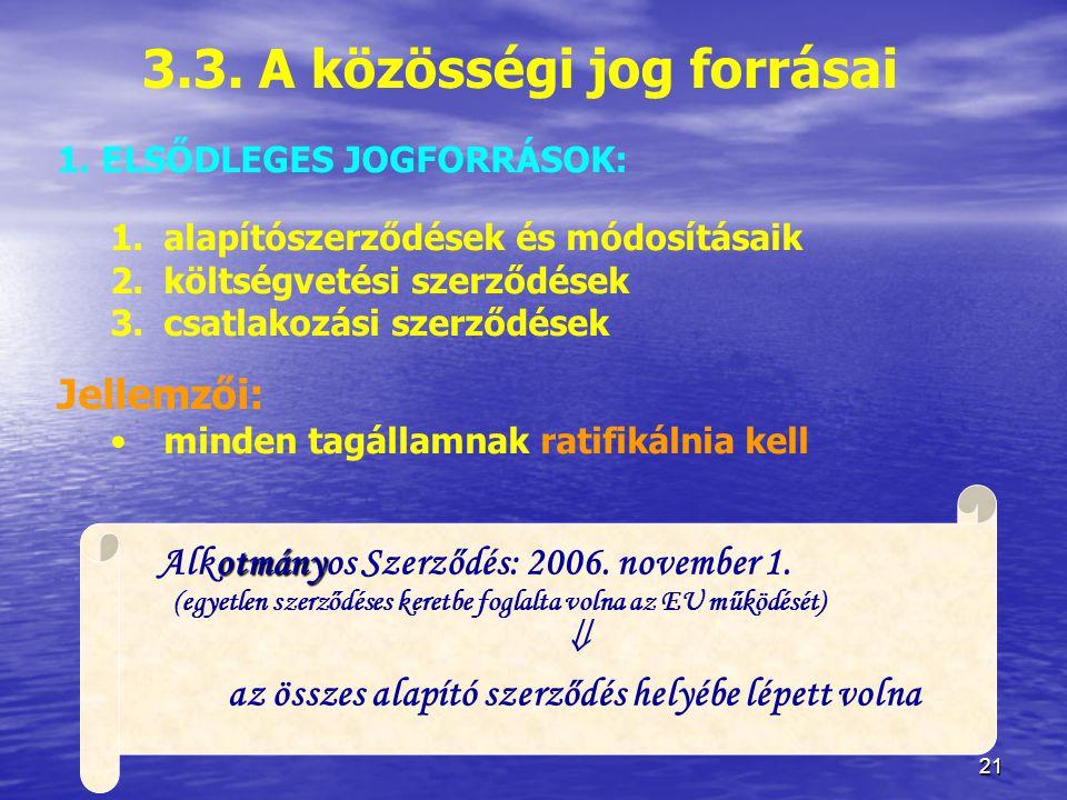 3.3. A közösségi jog forrásai