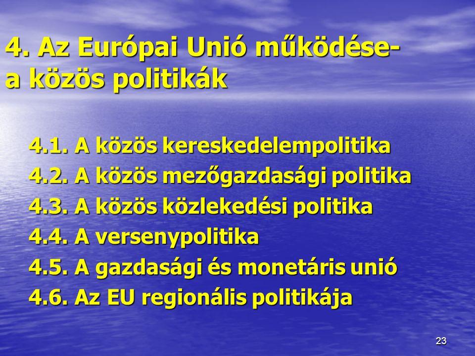 4. Az Európai Unió működése- a közös politikák