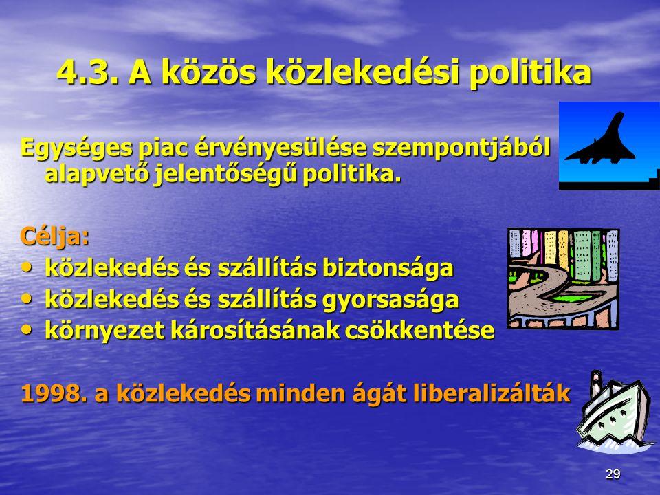 4.3. A közös közlekedési politika