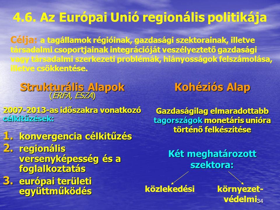 4.6. Az Európai Unió regionális politikája Két meghatározott szektora: