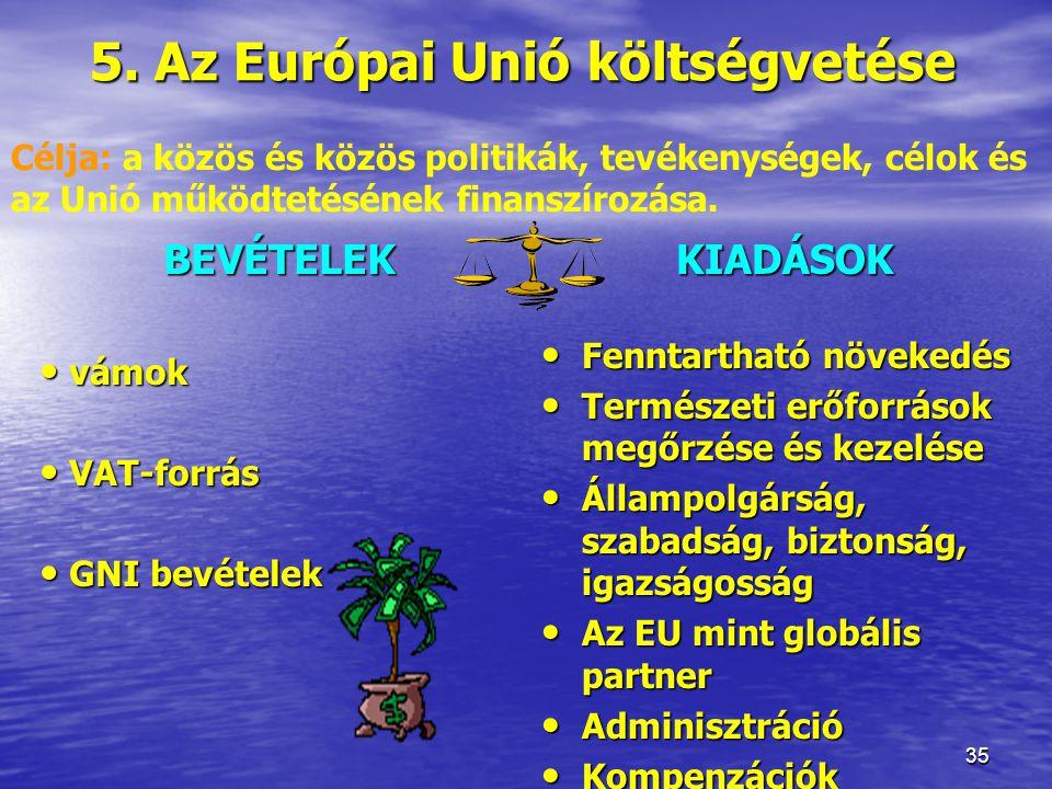 5. Az Európai Unió költségvetése