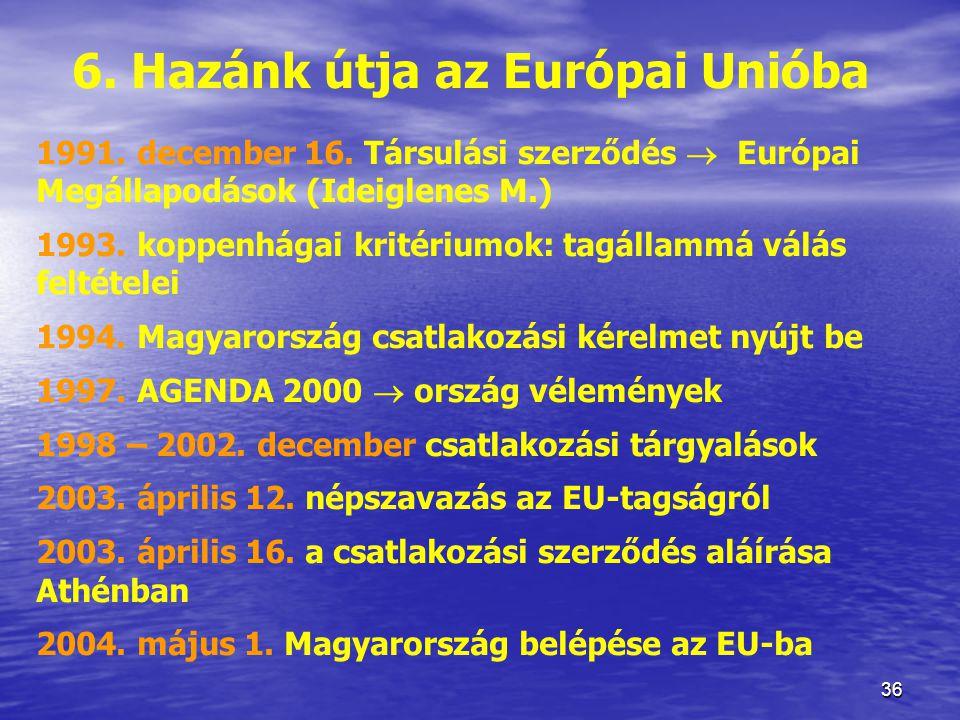 6. Hazánk útja az Európai Unióba