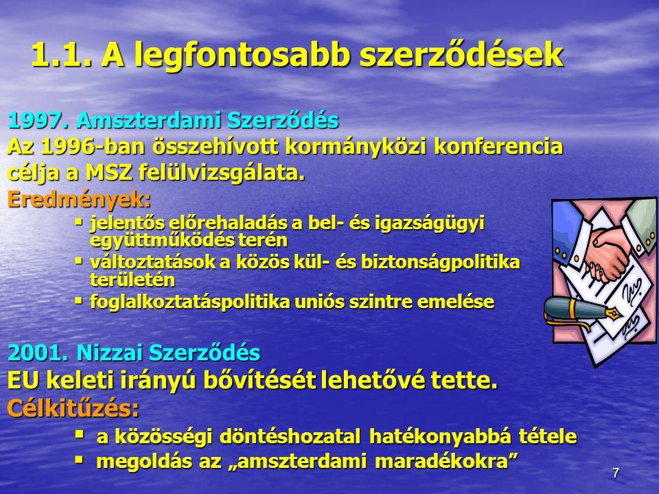 1.1. A legfontosabb szerződések