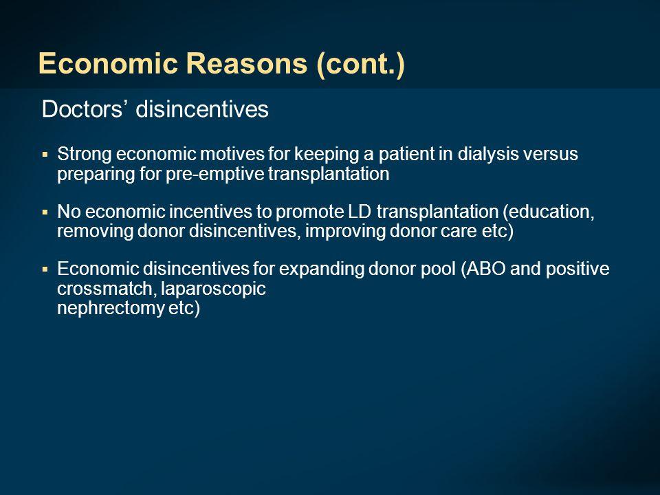 Economic Reasons (cont.)