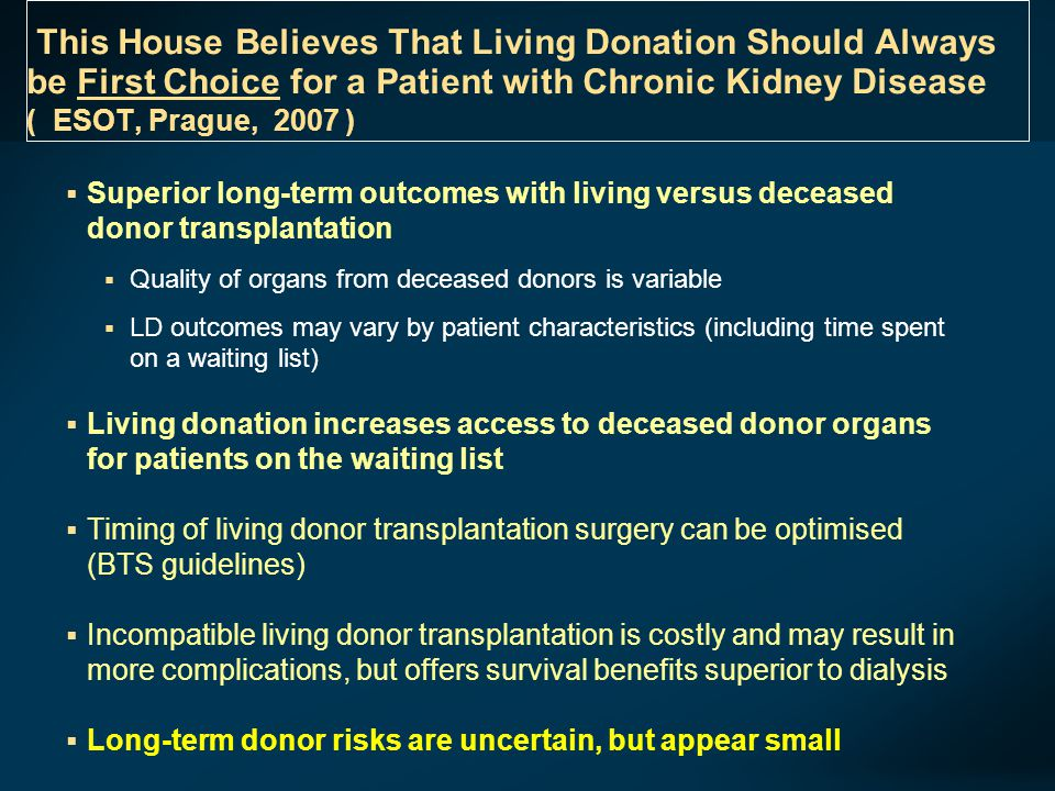 This House Believes That Living Donation Should Always be First Choice for a Patient with Chronic Kidney Disease ( ESOT, Prague, 2007 )