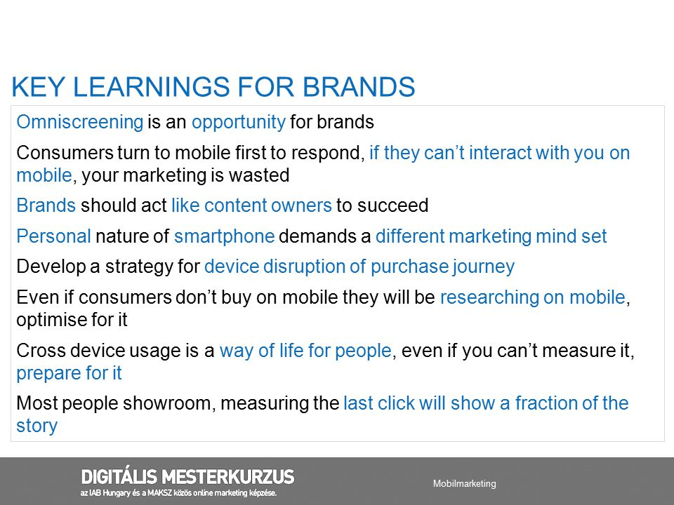 KEY LEARNINGS FOR BRANDS