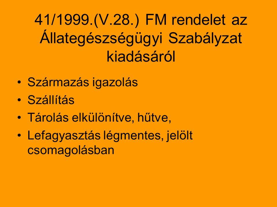 41/1999.(V.28.) FM rendelet az Állategészségügyi Szabályzat kiadásáról