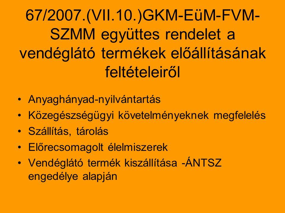 67/2007.(VII.10.)GKM-EüM-FVM-SZMM együttes rendelet a vendéglátó termékek előállításának feltételeiről