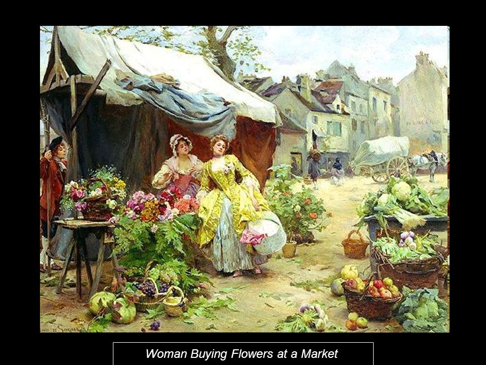 Woman Buying Flowers at a Market