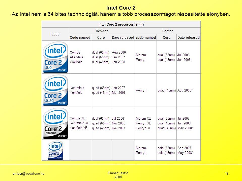 Intel Core 2 Az Intel nem a 64 bites technológiát, hanem a több processzormagot részesítette előnyben.