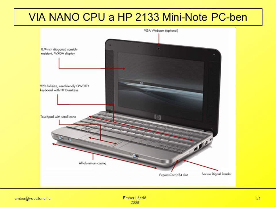 VIA NANO CPU a HP 2133 Mini-Note PC-ben