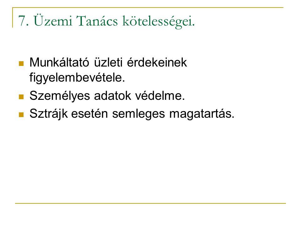 7. Üzemi Tanács kötelességei.