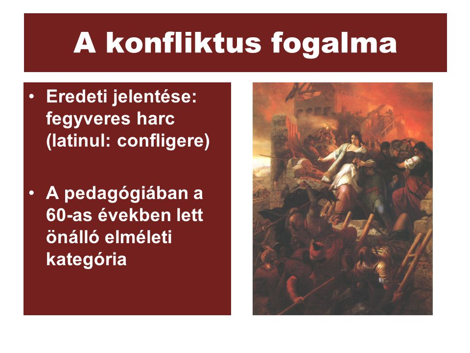 A konfliktus fogalma Eredeti jelentése: fegyveres harc (latinul: confligere) A pedagógiában a 60-as években lett önálló elméleti kategória.