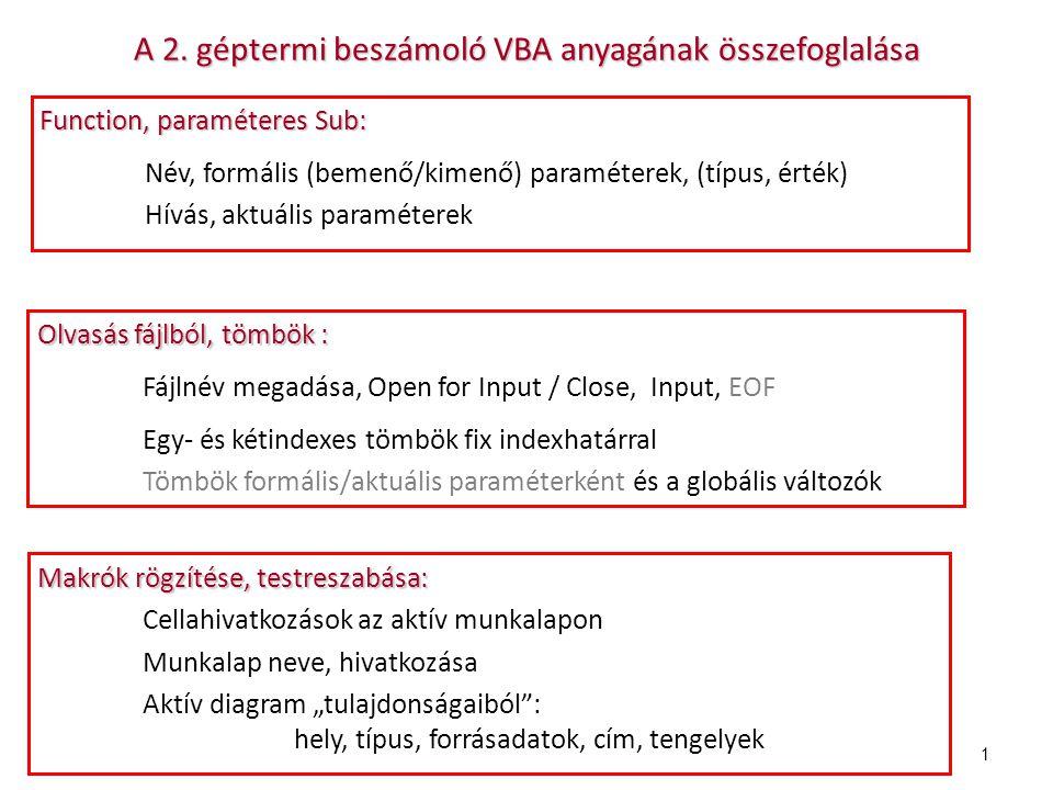 A 2. géptermi beszámoló VBA anyagának összefoglalása