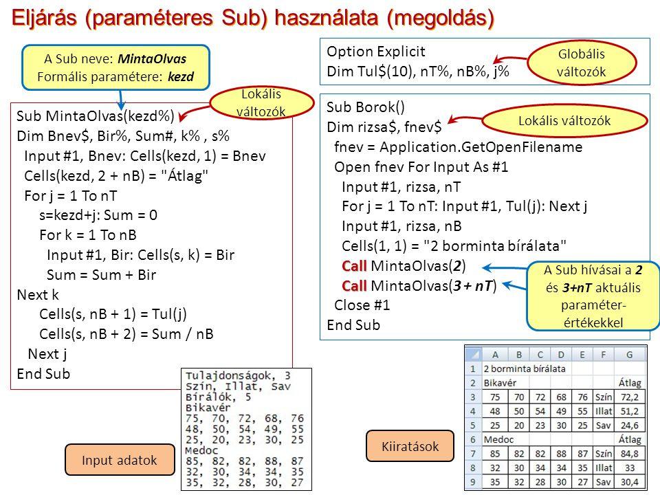 Eljárás (paraméteres Sub) használata (megoldás)