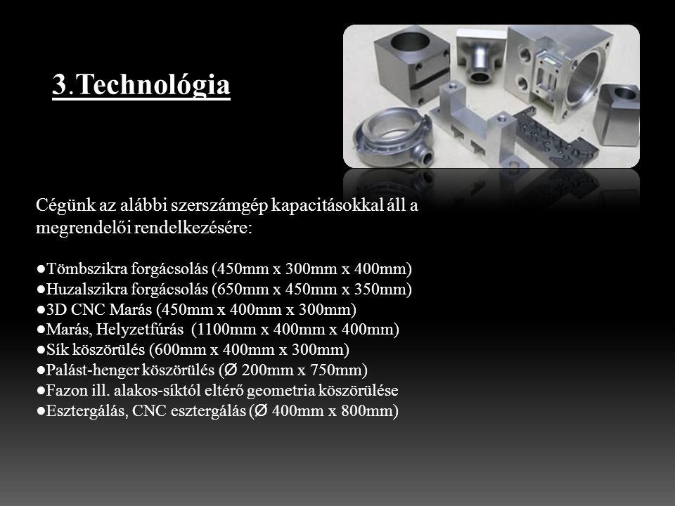 3.Technológia Cégünk az alábbi szerszámgép kapacitásokkal áll a megrendelői rendelkezésére: ●Tömbszikra forgácsolás (450mm x 300mm x 400mm)