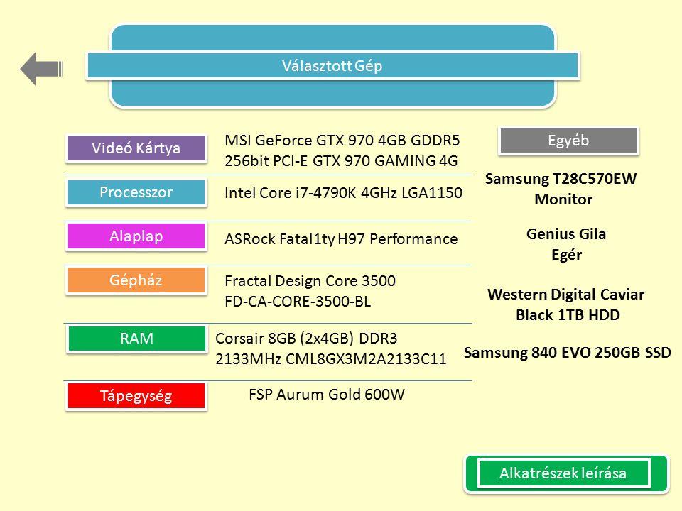 Választott Gép MSI GeForce GTX 970 4GB GDDR5. 256bit PCI-E GTX 970 GAMING 4G. Egyéb. Videó Kártya.