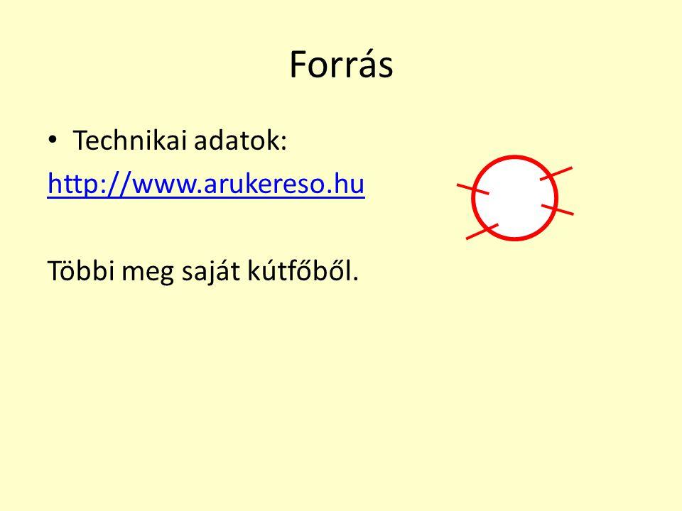 Forrás Technikai adatok: http://www.arukereso.hu