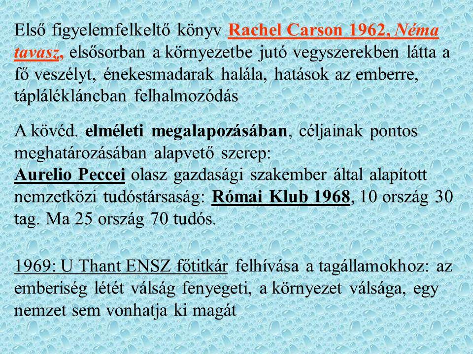 Első figyelemfelkeltő könyv Rachel Carson 1962, Néma tavasz, elsősorban a környezetbe jutó vegyszerekben látta a fő veszélyt, énekesmadarak halála, hatások az emberre, táplálékláncban felhalmozódás