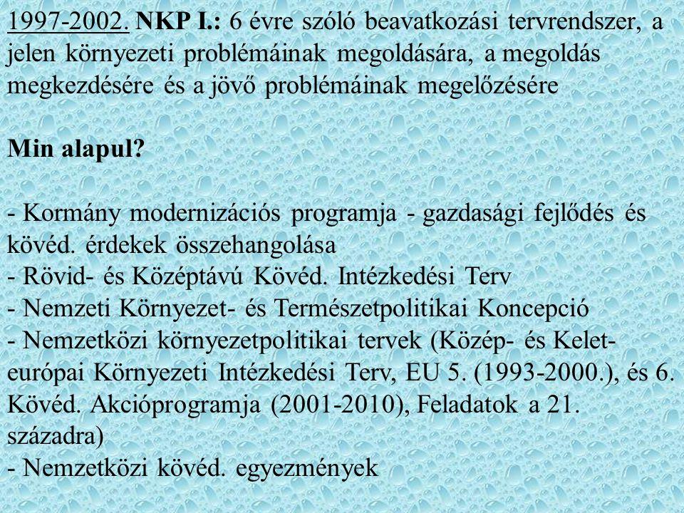 1997-2002. NKP I.: 6 évre szóló beavatkozási tervrendszer, a jelen környezeti problémáinak megoldására, a megoldás megkezdésére és a jövő problémáinak megelőzésére