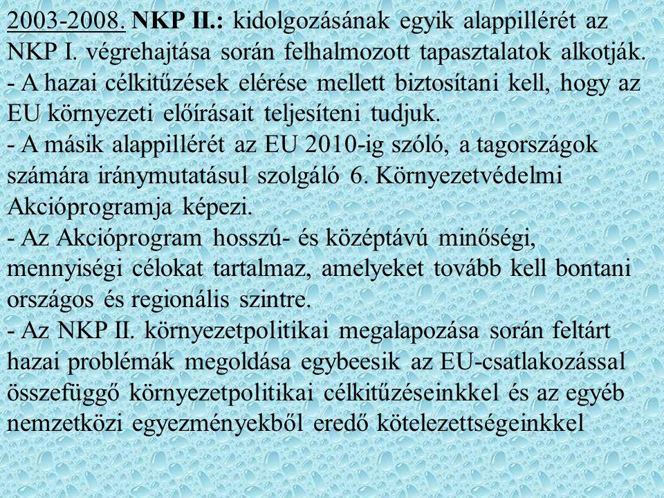 2003-2008. NKP II. : kidolgozásának egyik alappillérét az NKP I