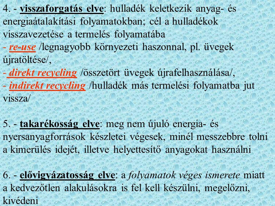 4. - visszaforgatás elve: hulladék keletkezik anyag- és energiaátalakítási folyamatokban; cél a hulladékok visszavezetése a termelés folyamatába