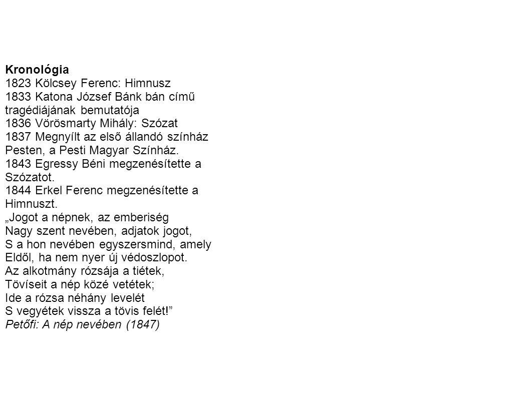 Kronológia 1823 Kölcsey Ferenc: Himnusz. 1833 Katona József Bánk bán című. tragédiájának bemutatója.