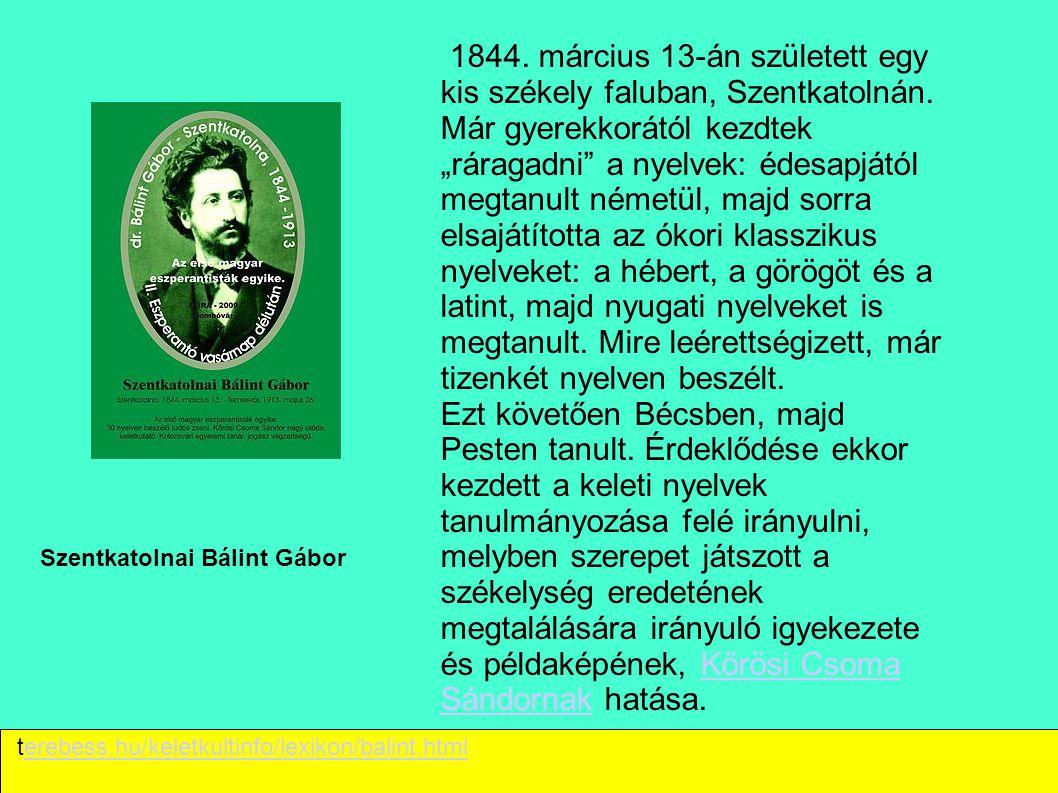 1844. március 13-án született egy kis székely faluban, Szentkatolnán