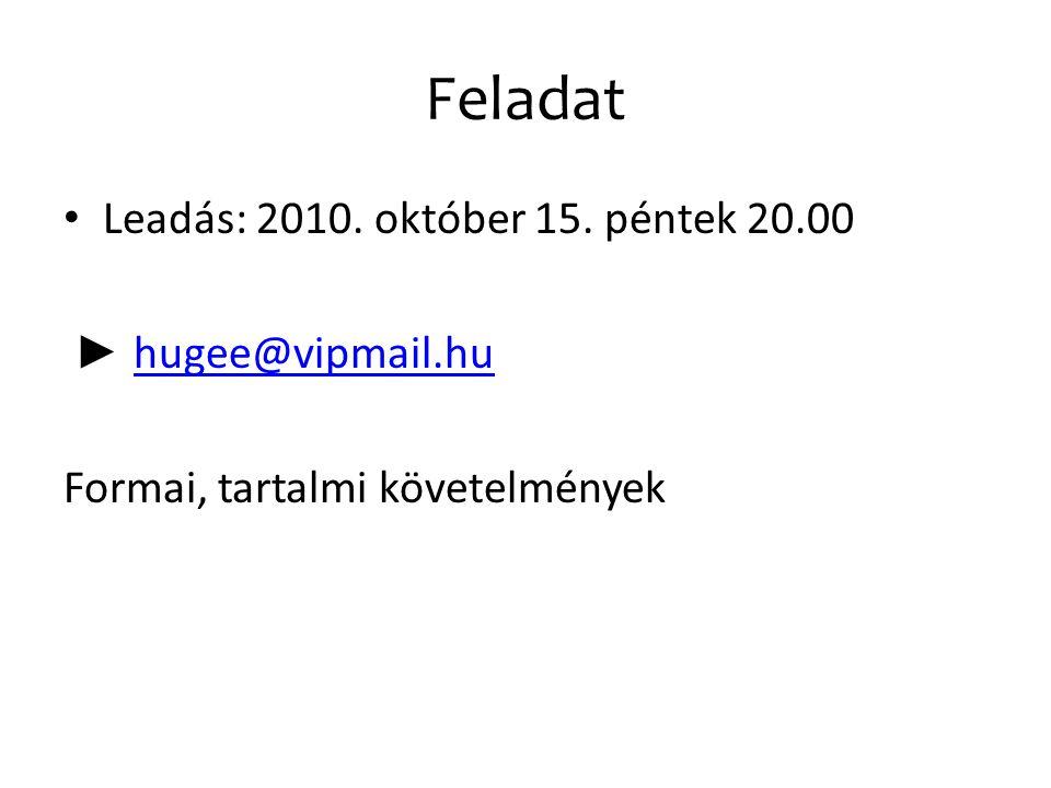 Feladat Leadás: 2010. október 15. péntek 20.00 ► hugee@vipmail.hu