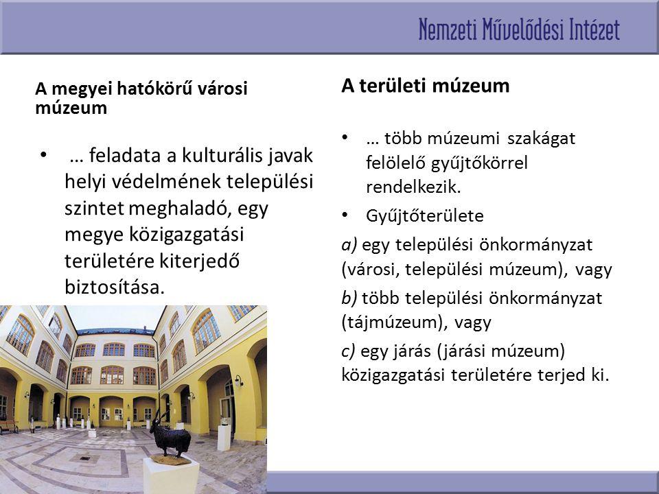 A területi múzeum A megyei hatókörű városi múzeum. … több múzeumi szakágat felölelő gyűjtőkörrel rendelkezik.
